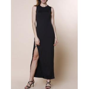 Elegant Round Collar Sleeveless Black High Slit Maxi Dress For Women - Black - Xl