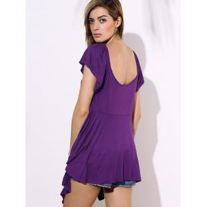 Stylish Square Neck Short Sleeve Solid Color Asymmetrical Women's Blouse -