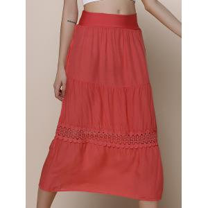 Crochet Trim A Line Midi Skirt - Red - One Size(fit Size Xs To M)