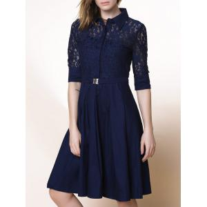 Elegant Shirt Collar 3/4 Sleeve Lace Design Cut Out Midi Dress For Women