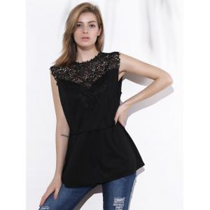 Chic Sleeveless Lace Splicing Pleated Plus Size Blouse  For Women -