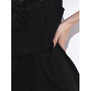 Chic Sleeveless Lace Splicing Pleated Plus Size Blouse  For Women - BLACK 2XL