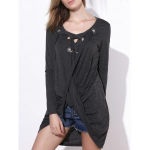Stylish V-Neck Long Sleeve Asymmetrical Women T-Shirt