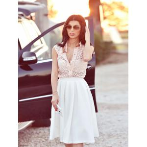 Semi Sheer Megz Sleeveless Lace Shirt