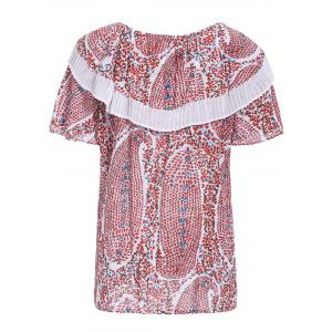 Trendy Round Collar Short Sleeve Tiny Floral Print Flounce Women's T-Shirt -