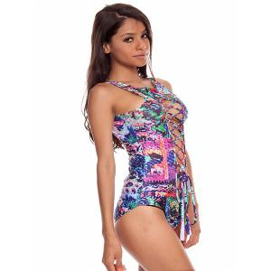 Printed Hollow Out Lace Up One-Piece  Swimsuit - COLORMIX M