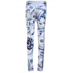 Chic Elastic Waist Dollar Printed Skinny Women's Yoga Pants - COLORMIX ONE SIZE(FIT SIZE XS TO M)