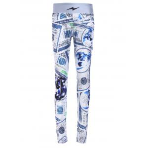 Chic Elastic Waist Dollar Printed Skinny Women's Yoga Pants