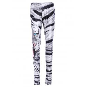 Trendy Elastic Waist Leopard Print Skull Pattern Women's Yoga Pants - Colormix - One Size(fit Size Xs To M)