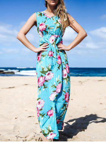 Unique Elegant V-Neck Sleeveless Floral Printed Pleated Maxi Dress For Women