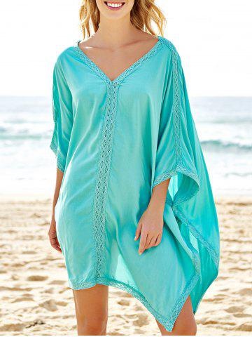 Buy Stylish Plunging Neck Spliced 3/4 Sleeve Cover-Up For Women - ONE SIZE(FIT SIZE XS TO M) BLUE Mobile