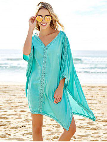 Unique Stylish Plunging Neck Spliced 3/4 Sleeve Cover-Up For Women - ONE SIZE(FIT SIZE XS TO M) BLUE Mobile