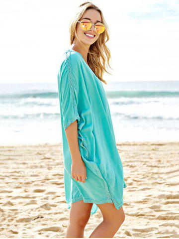 Discount Stylish Plunging Neck Spliced 3/4 Sleeve Cover-Up For Women - ONE SIZE(FIT SIZE XS TO M) BLUE Mobile