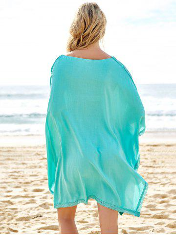 Outfits Stylish Plunging Neck Spliced 3/4 Sleeve Cover-Up For Women - ONE SIZE(FIT SIZE XS TO M) BLUE Mobile