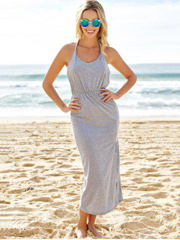 Chic Slit Halter Backless Maxi Casual Dress - S GRAY Mobile