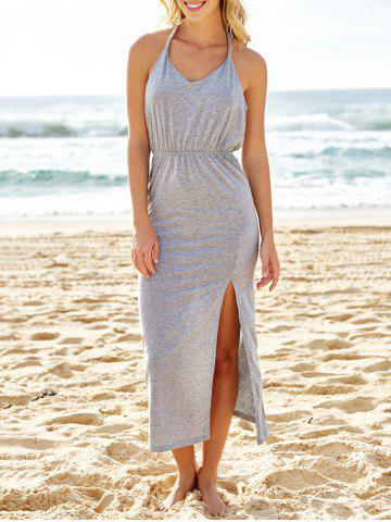 Buy Slit Halter Neck Backless Maxi Summer Dress GRAY S