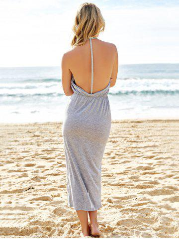 New Slit Halter Backless Maxi Casual Dress - M GRAY Mobile