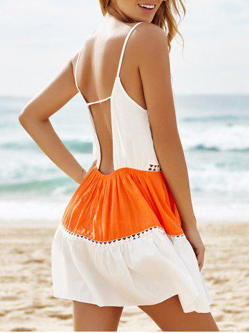 Hot Stylish Spaghetti Strap Color Block Lace Splicing Backless Dress For Women
