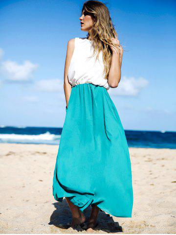 Fancy Two Tone Floor Length Maxi Swing Beach Summer Dress - S WHITE AND GREEN Mobile