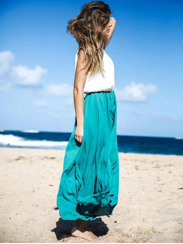 Store Two Tone Floor Length Maxi Swing Beach Summer Dress - S WHITE AND GREEN Mobile