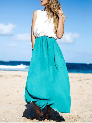 Outfit Two Tone Floor Length Maxi Swing Beach Summer Dress WHITE AND GREEN M