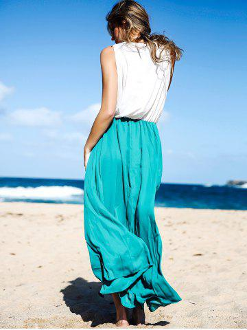 Unique Two Tone Floor Length Maxi Swing Beach Summer Dress - M WHITE AND GREEN Mobile