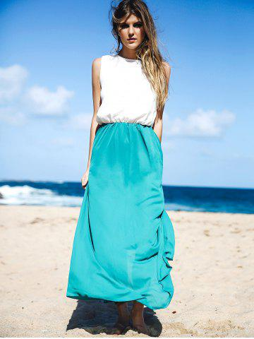 Fancy Two Tone Floor Length Maxi Swing Beach Summer Dress - M WHITE AND GREEN Mobile
