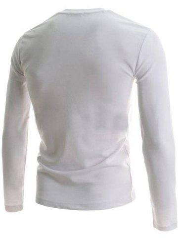 Best V-Neck Buttons Embellished PU-Leather Edging Long Sleeve T-Shirt For Men - XL WHITE Mobile
