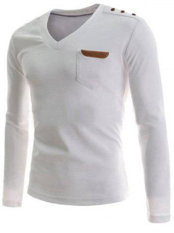 V-Neck Boutons embellies PU-cuir Edging manches longues T-shirt pour les hommes Blanc XL