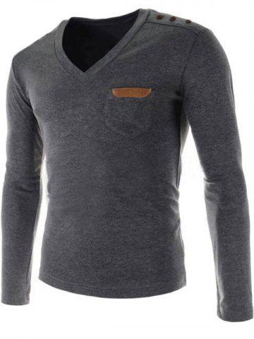 New V-Neck Buttons Embellished PU-Leather Edging Long Sleeve T-Shirt For Men - 2XL GRAY Mobile