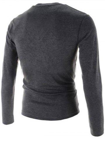 Store V-Neck Buttons Embellished PU-Leather Edging Long Sleeve T-Shirt For Men - 2XL GRAY Mobile