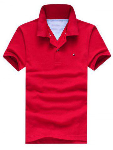 Unique Embroidered Design Turn-Down Collar Short Sleeve Polo T-Shirt For Men RED L