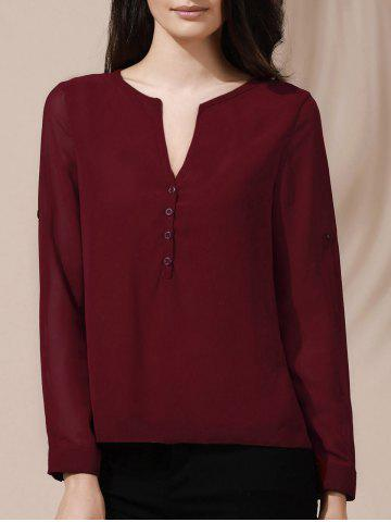 Affordable Chic Women's V-Neck Button Design Long Sleeve Blouse WINE RED S