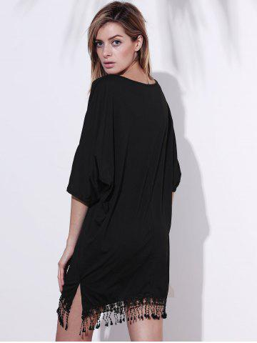 Outfit V-Neck Half Sleeve Fringed Chiffon Cover-Up Dress - XL BLACK Mobile