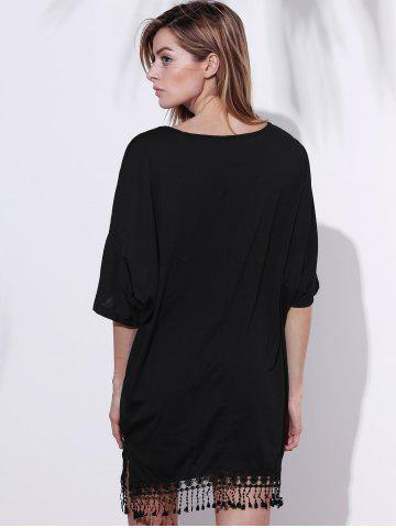 Outfit V-Neck Half Sleeve Fringed Chiffon Cover-Up Dress - L BLACK Mobile