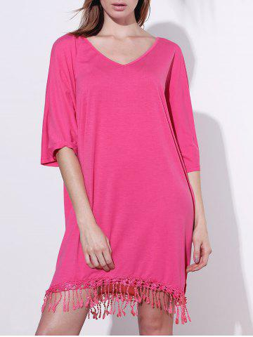 Discount V-Neck Half Sleeve Fringed Chiffon Cover-Up Dress - 3XL ROSE Mobile