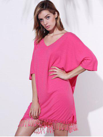 Discount V-Neck Half Sleeve Fringed Chiffon Cover-Up Dress - 2XL ROSE Mobile