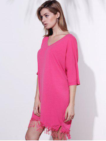 Buy V-Neck Half Sleeve Fringed Chiffon Cover-Up Dress - 2XL ROSE Mobile