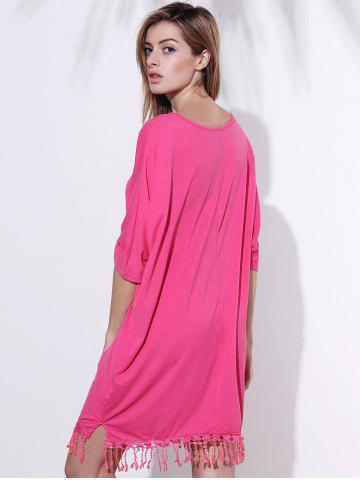 Hot V-Neck Half Sleeve Fringed Chiffon Cover-Up Dress - 2XL ROSE Mobile