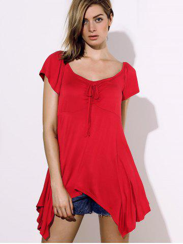 Stylish Square Neck Short Sleeve Solid Color Asymmetrical Women's Blouse