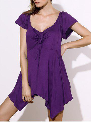 Buy Stylish Square Neck Short Sleeve Solid Color Asymmetrical Women's Blouse
