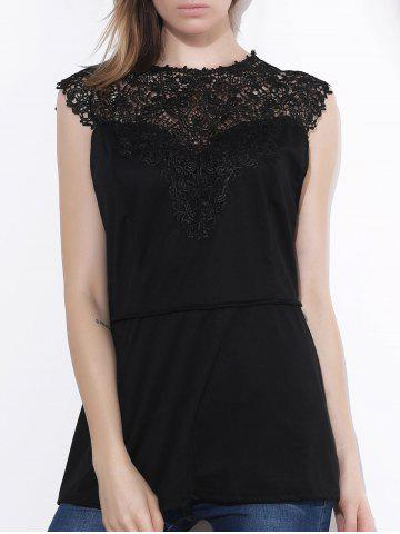 Chic Sleeveless Lace Splicing Pleated Plus Size Blouse  For Women - Black - Xl