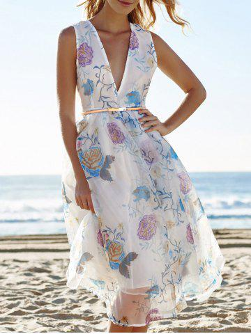 Online Sexy Plunging Neck Sleeveless See-Through Flower Pattern Women's Dress WHITE L