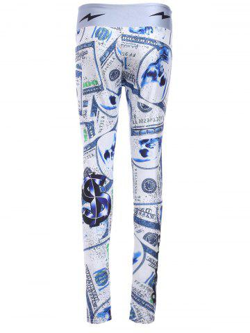 Chic Chic Elastic Waist Dollar Printed Skinny Women's Yoga Pants - ONE SIZE(FIT SIZE XS TO M) COLORMIX Mobile