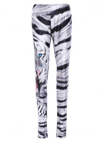 Outfits Trendy Elastic Waist Leopard Print Skull Pattern Women's Yoga Pants - ONE SIZE(FIT SIZE XS TO M) COLORMIX Mobile