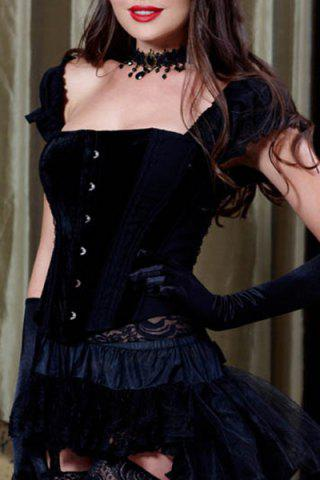 Buy Attractive Slimming Ruffled Sleeves Corset For Women BLACK M