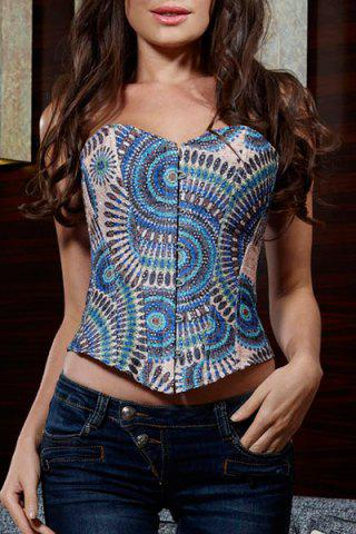 Outfit Fashionable Slimming Tribal Print Corset For Women