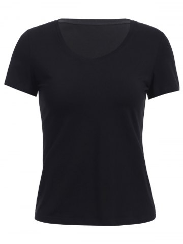 New Fashionable V-Neck Short Sleeve Pure Color Women's T-Shirt