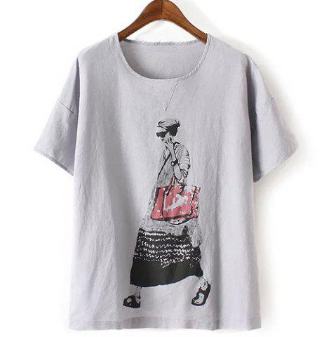 Online Fashionable Short Sleeve Figure Print Women's T-Shirt GRAY ONE SIZE(FIT SIZE XS TO M)