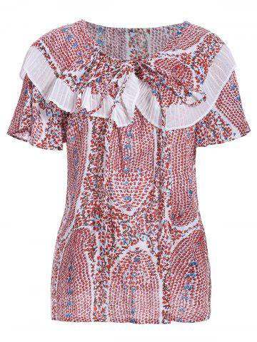Outfit Trendy Round Collar Short Sleeve Tiny Floral Print Flounce Women's T-Shirt
